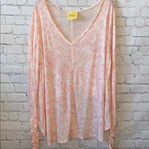 Free People V-Neck Hi-Low Paisley Top